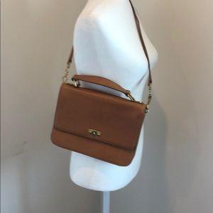 J.Crew camel leather handbag.